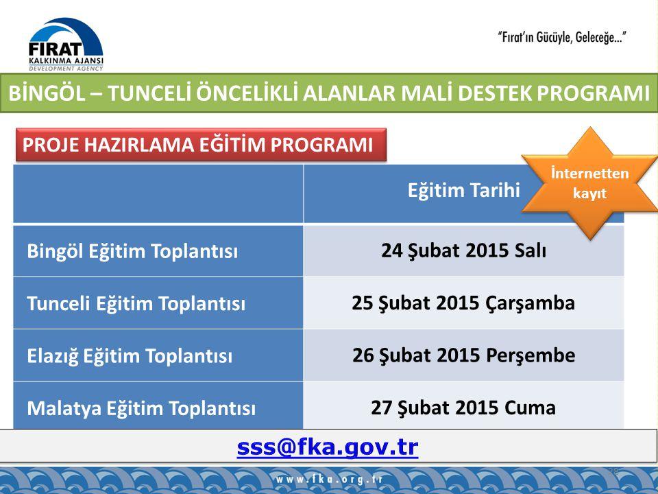 28 PROJE HAZIRLAMA EĞİTİM PROGRAMI Eğitim Tarihi Bingöl Eğitim Toplantısı 24 Şubat 2015 Salı Tunceli Eğitim Toplantısı 25 Şubat 2015 Çarşamba Elazığ Eğitim Toplantısı 26 Şubat 2015 Perşembe Malatya Eğitim Toplantısı 27 Şubat 2015 Cuma İnternetten kayıt BİNGÖL – TUNCELİ ÖNCELİKLİ ALANLAR MALİ DESTEK PROGRAMI
