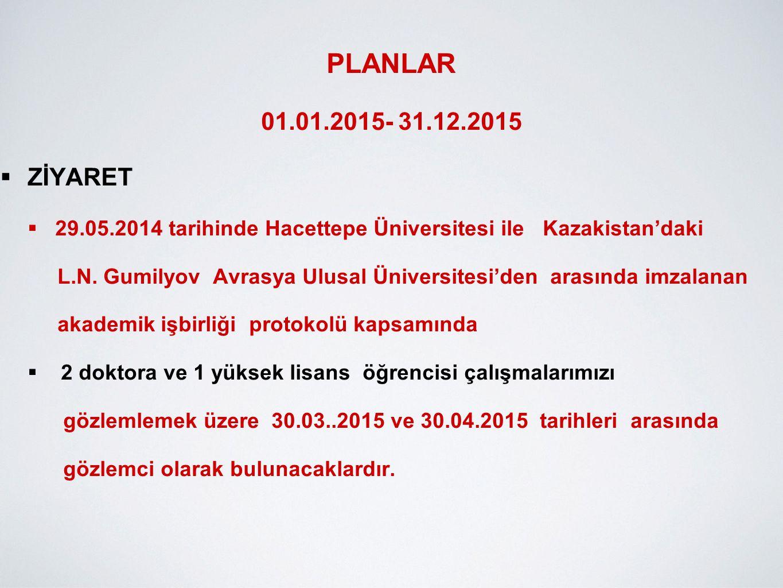 PLANLAR 01.01.2015- 31.12.2015  ZİYARET  29.05.2014 tarihinde Hacettepe Üniversitesi ile Kazakistan'daki L.N. Gumilyov Avrasya Ulusal Üniversitesi'd