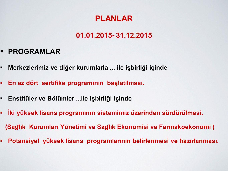 PLANLAR 01.01.2015- 31.12.2015  ZİYARET  29.05.2014 tarihinde Hacettepe Üniversitesi ile Kazakistan'daki L.N.