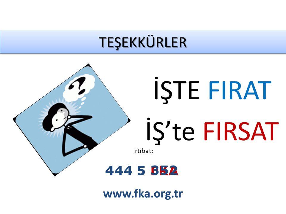 TEŞEKKÜRLERTEŞEKKÜRLER İrtibat: www.fka.org.tr İŞTE FIRAT İŞ'te FIRSAT 444 5 FKA 352