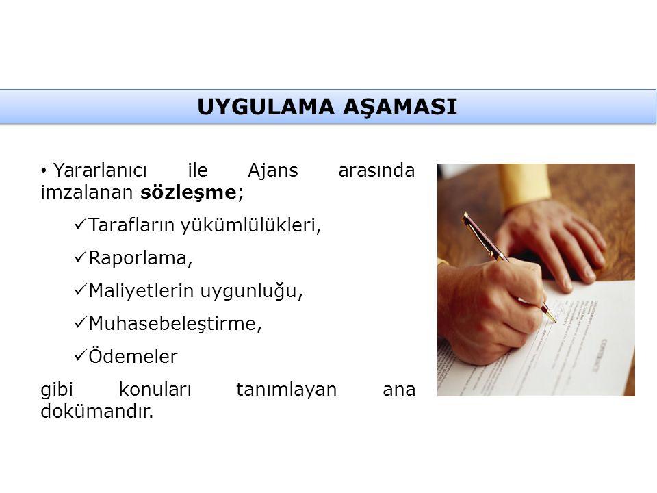 Yararlanıcı ile Ajans arasında imzalanan sözleşme; Tarafların yükümlülükleri, Raporlama, Maliyetlerin uygunluğu, Muhasebeleştirme, Ödemeler gibi konuları tanımlayan ana dokümandır.