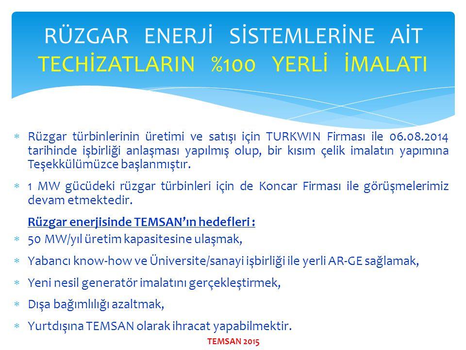 RÜZGAR ENERJİ SİSTEMLERİNE AİT TECHİZATLARIN %100 YERLİ İMALATI  Rüzgar türbinlerinin üretimi ve satışı için TURKWIN Firması ile 06.08.2014 tarihinde