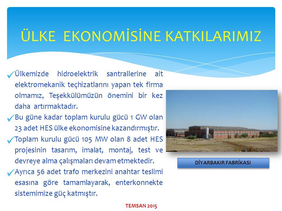 Ülkemizde hidroelektrik santrallerine ait elektromekanik teçhizatlarını yapan tek firma olmamız, Teşekkülümüzün önemini bir kez daha artırmaktadır. Bu