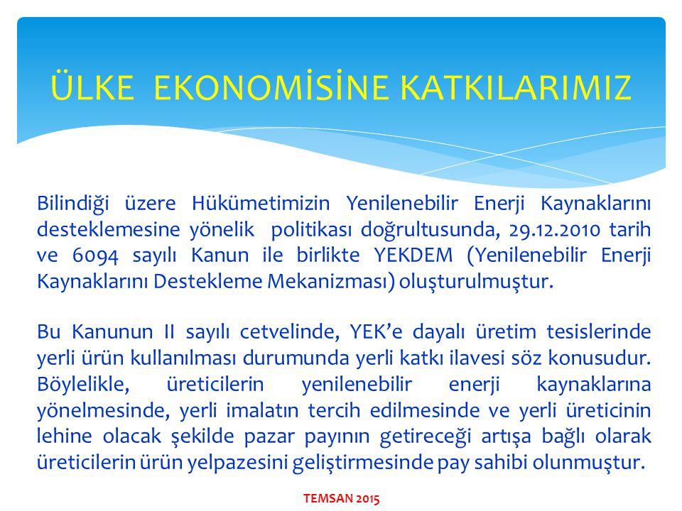 Bilindiği üzere Hükümetimizin Yenilenebilir Enerji Kaynaklarını desteklemesine yönelik politikası doğrultusunda, 29.12.2010 tarih ve 6094 sayılı Kanun