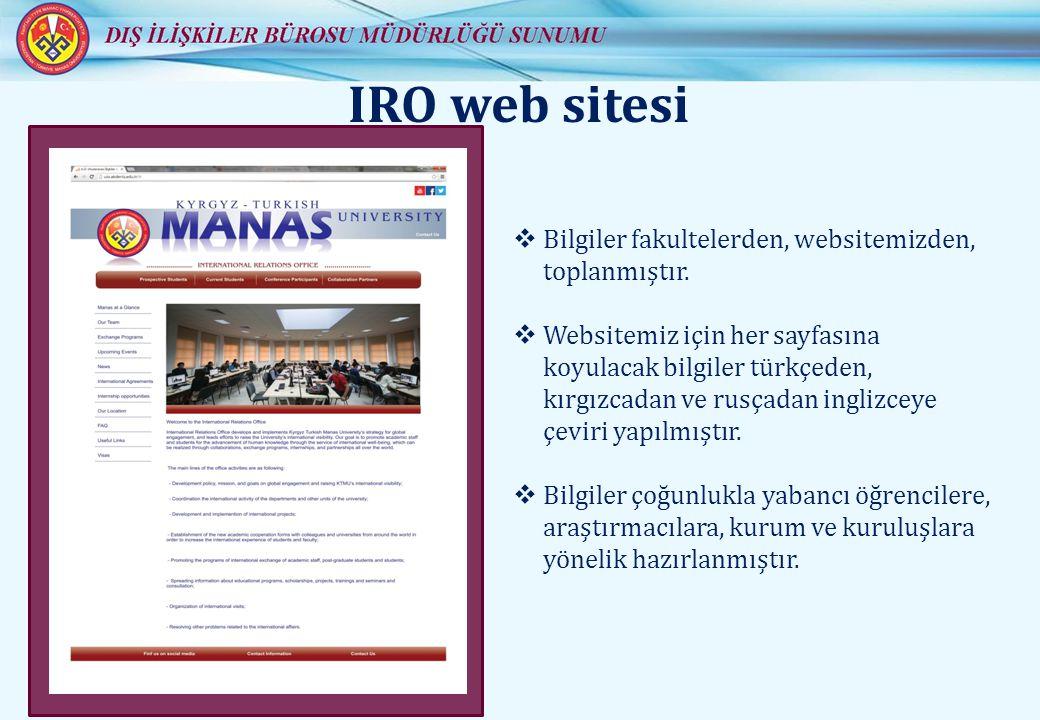 IRO web sitesi  Bilgiler fakultelerden, websitemizden, toplanmıştır.