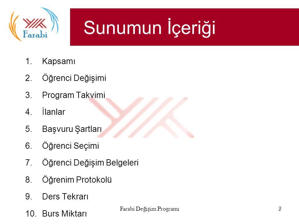 Farabi Değişim Programı3 Kapsam Yükseköğretim kurumları  Üniversiteler  Yüksek teknoloji enstitüleri Tüm eğitim kademeleri  Önlisans  Lisans  Yüksek Lisans  Doktora