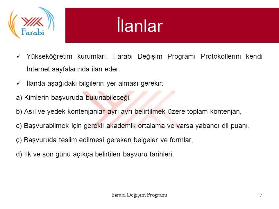 İlanlar Yükseköğretim kurumları, Farabi Değişim Programı Protokollerini kendi İnternet sayfalarında ilan eder.