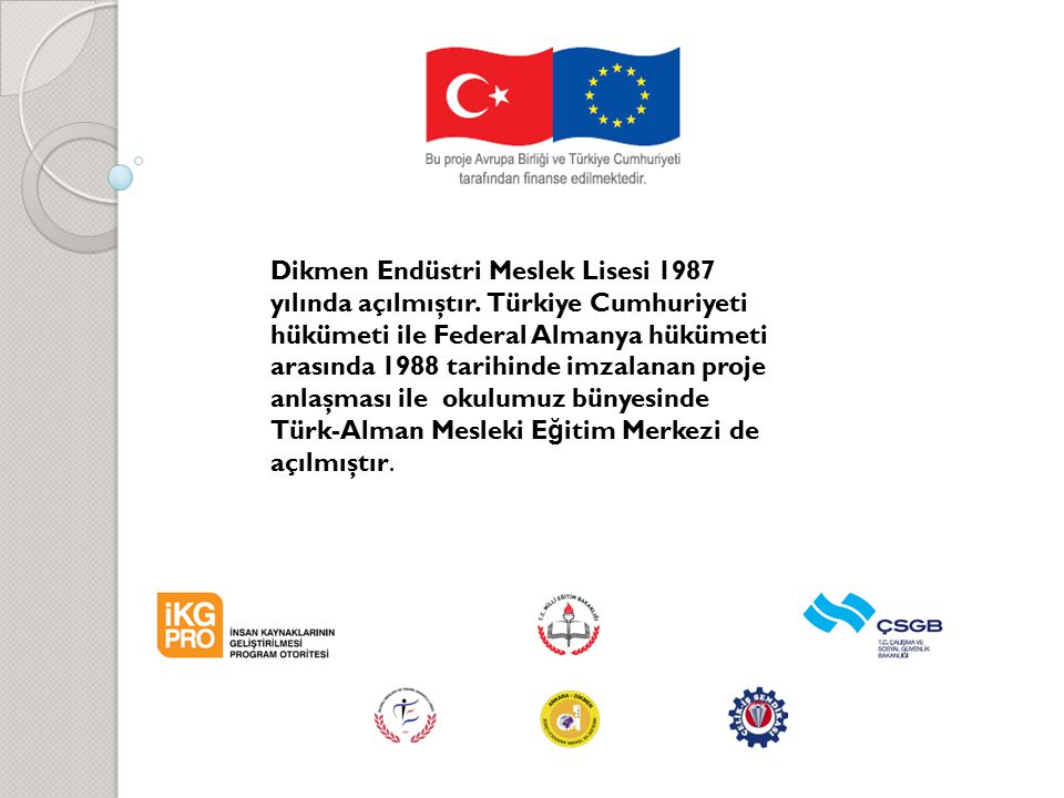 Dikmen Endüstri Meslek Lisesi 1987 yılında açılmıştır. Türkiye Cumhuriyeti hükümeti ile Federal Almanya hükümeti arasında 1988 tarihinde imzalanan pro