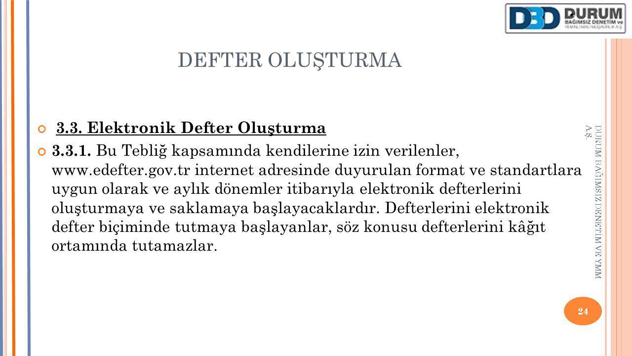 DEFTER OLUŞTURMA 3.3. Elektronik Defter Oluşturma 3.3.1. Bu Tebliğ kapsamında kendilerine izin verilenler, www.edefter.gov.tr internet adresinde duyur
