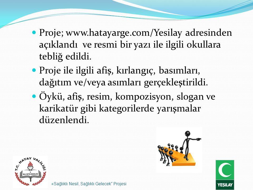 Proje; www.hatayarge.com/Yesilay adresinden açıklandı ve resmi bir yazı ile ilgili okullara tebliğ edildi. Proje ile ilgili afiş, kırlangıç, basımları