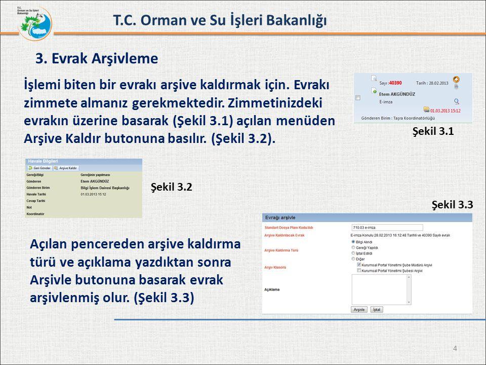 4 3. Evrak Arşivleme Açılan pencereden arşive kaldırma türü ve açıklama yazdıktan sonra Arşivle butonuna basarak evrak arşivlenmiş olur. (Şekil 3.3) Ş