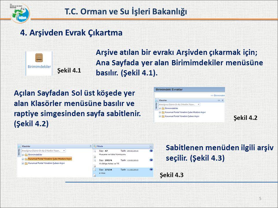 5 4. Arşivden Evrak Çıkartma Şekil 4.1 Şekil 4.3 Şekil 4.2 Sabitlenen menüden ilgili arşiv seçilir. (Şekil 4.3) T.C. Orman ve Su İşleri Bakanlığı Arşi