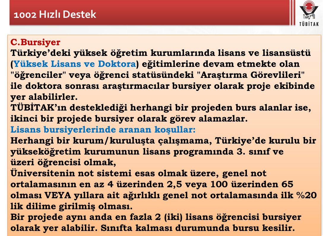 1002 Hızlı Destek C.Bursiyer Türkiye'deki yüksek öğretim kurumlarında lisans ve lisansüstü (Yüksek Lisans ve Doktora) eğitimlerine devam etmekte olan