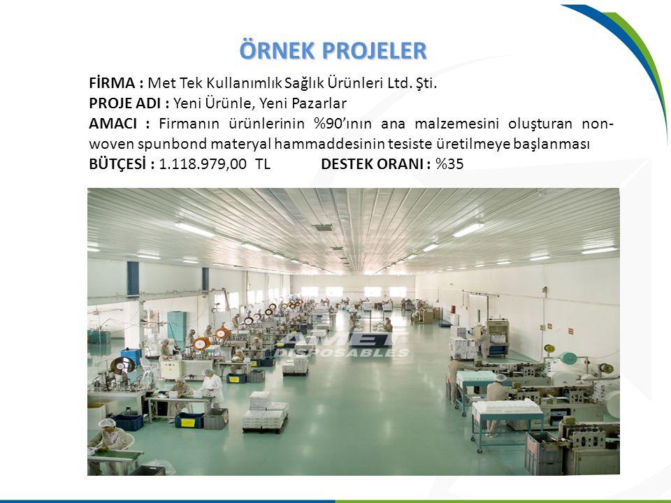 ÖRNEK PROJELER FİRMA : Met Tek Kullanımlık Sağlık Ürünleri Ltd. Şti. PROJE ADI : Yeni Ürünle, Yeni Pazarlar AMACI : Firmanın ürünlerinin %90'ının ana