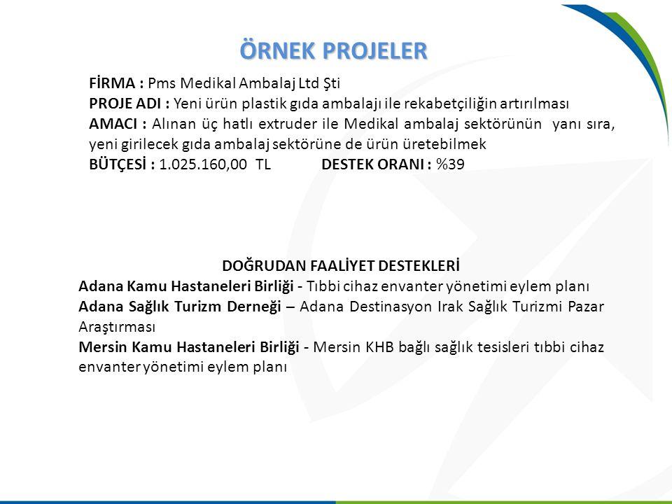ÖRNEK PROJELER FİRMA : Pms Medikal Ambalaj Ltd Şti PROJE ADI : Yeni ürün plastik gıda ambalajı ile rekabetçiliğin artırılması AMACI : Alınan üç hatlı