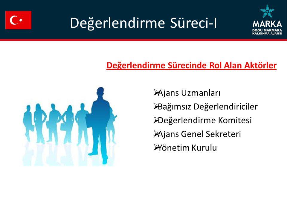 Değerlendirme Süreci-I Değerlendirme Sürecinde Rol Alan Aktörler  Ajans Uzmanları  Bağımsız Değerlendiriciler  Değerlendirme Komitesi  Ajans Genel Sekreteri  Yönetim Kurulu