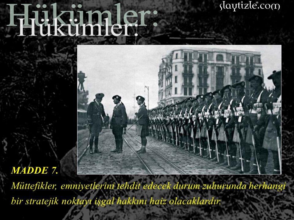 MADDE 6. Osmanlı Karasularında zabıta ve buna benzer hususlar için kullanılacak küçük gemiler müstesna olmak üzere, Osmanlı sularında veya Osmanlı Dev