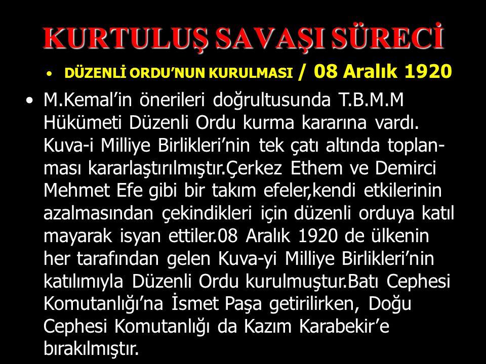 KURTULUŞ SAVAŞI SÜRECİ Doğu cephesinde Ermenilerle savaşılmıştır.Ermeniler Sevr Antlaşması 'na dayanarak Doğu Anadolu'da bir Ermeni Devleti kurmak ist