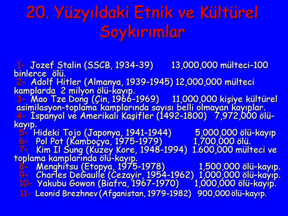 20. Yüzyıldaki Etnik ve Kültürel Soykırımlar 1- Jozef Stalin (SSCB, 1934-39) 13,000,000 mülteci-100 binlerce ölü. 2- Adolf Hitler (Almanya, 1939-1945)