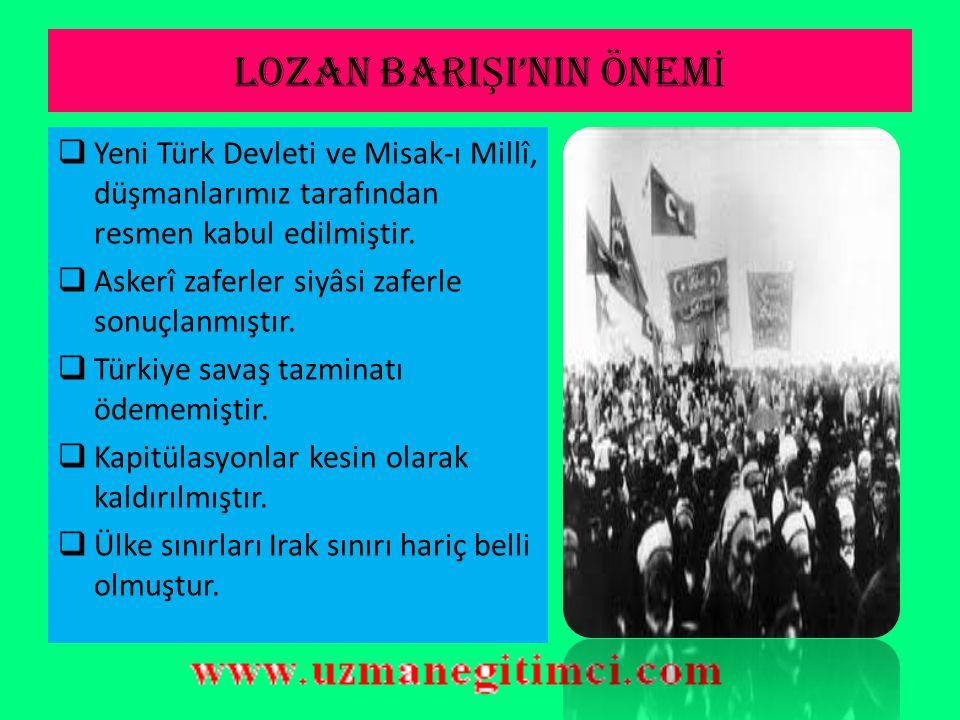 OSMANLI BORÇLARININ ÇÖZÜMÜ Borçlar şu şekilde halledilmiştir: 1. Duyûn-u Umûmiye İdaresi kaldırılmıştır. 2.Osmanlı Devleti'nden ayrılan devletlere Osm