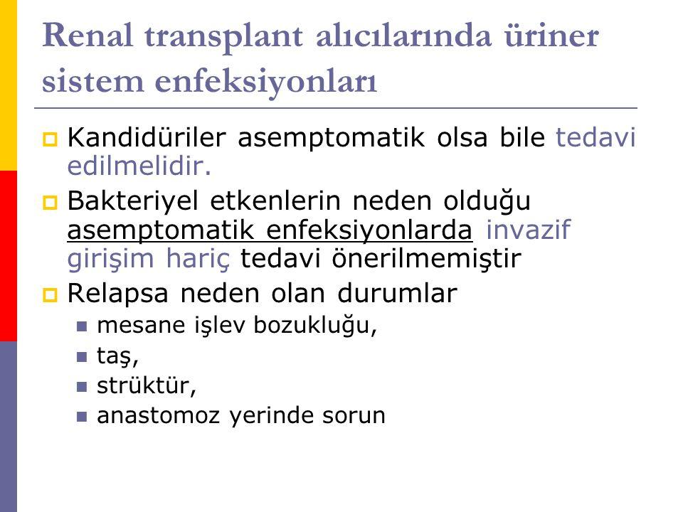 Renal transplant alıcılarında üriner sistem enfeksiyonları  Kandidüriler asemptomatik olsa bile tedavi edilmelidir.