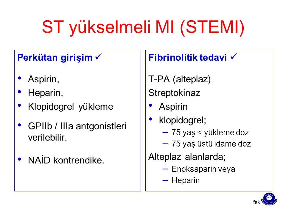ST yükselmeli MI (STEMI) Perkütan girişim Aspirin, Heparin, Klopidogrel yükleme GPIIb / IIIa antgonistleri verilebilir. NAİD kontrendike. Fibrinolitik