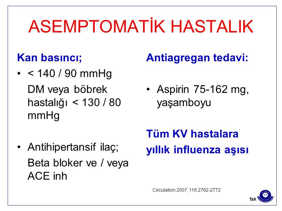 ASEMPTOMATİK HASTALIK Kan basıncı; < 140 / 90 mmHg DM veya böbrek hastalığı < 130 / 80 mmHg Antihipertansif ilaç; Beta bloker ve / veya ACE inh Antiagregan tedavi: Aspirin 75-162 mg, yaşamboyu Tüm KV hastalara yıllık influenza aşısı Circulation 2007, 116:2762-2772 fak