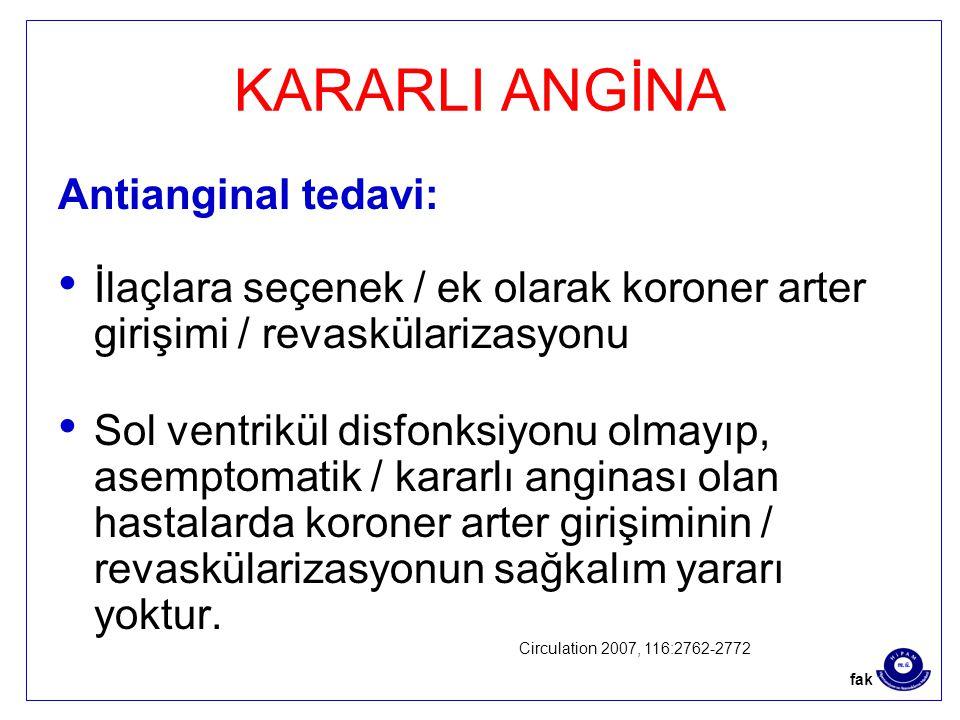 KARARLI ANGİNA Antianginal tedavi: İlaçlara seçenek / ek olarak koroner arter girişimi / revaskülarizasyonu Sol ventrikül disfonksiyonu olmayıp, asemptomatik / kararlı anginası olan hastalarda koroner arter girişiminin / revaskülarizasyonun sağkalım yararı yoktur.