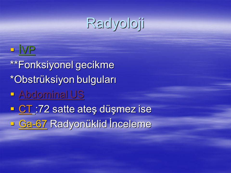 Radyoloji  İVP **Fonksiyonel gecikme *Obstrüksiyon bulguları  Abdominal US  CT :72 satte ateş düşmez ise  Ga-67 Radyonüklid İnceleme