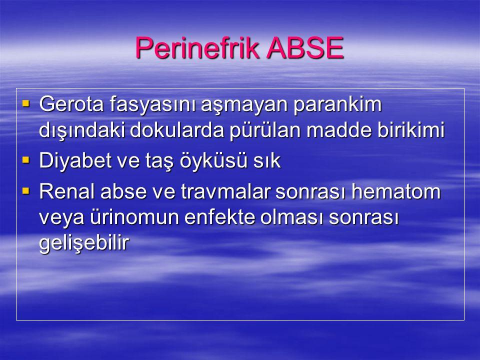 Perinefrik ABSE  Gerota fasyasını aşmayan parankim dışındaki dokularda pürülan madde birikimi  Diyabet ve taş öyküsü sık  Renal abse ve travmalar s