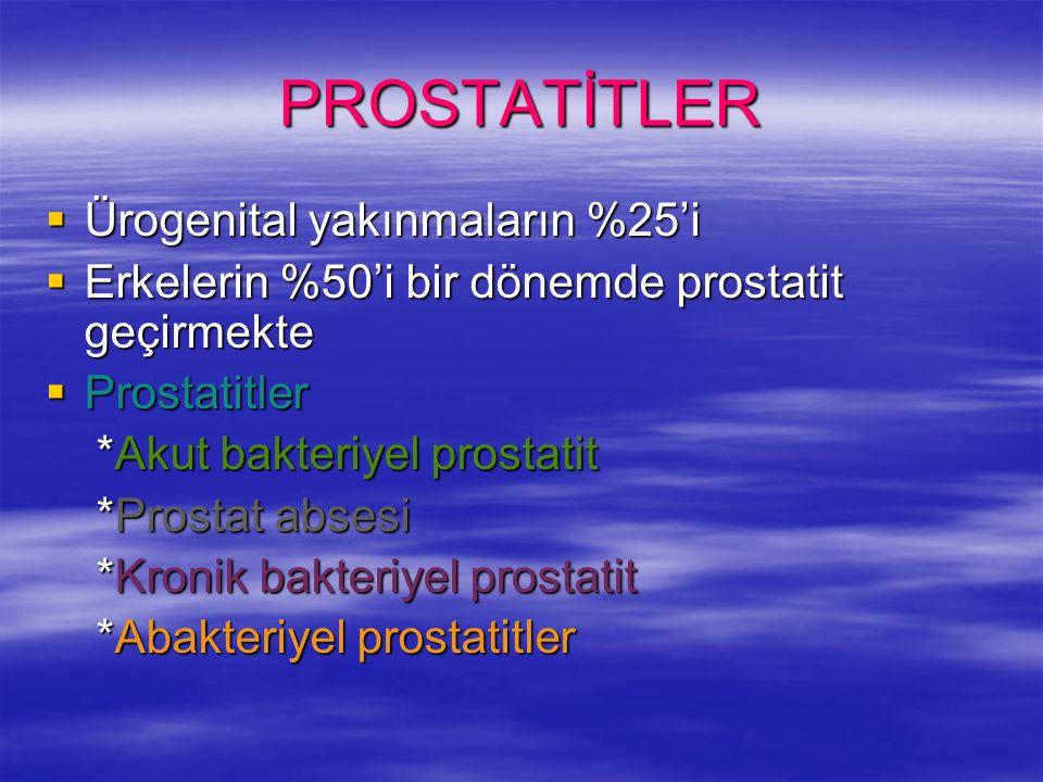 PROSTATİTLER  Ürogenital yakınmaların %25'i  Erkelerin %50'i bir dönemde prostatit geçirmekte  Prostatitler *Akut bakteriyel prostatit *Akut bakter