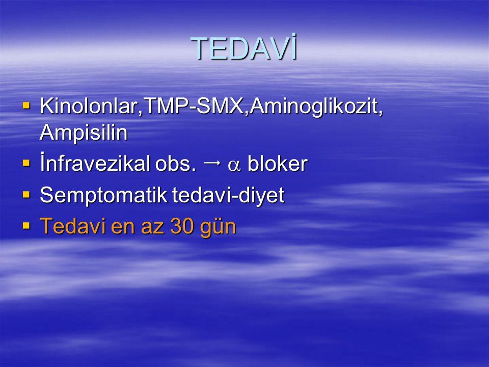 TEDAVİ  Kinolonlar,TMP-SMX,Aminoglikozit, Ampisilin  İnfravezikal obs.   bloker  Semptomatik tedavi-diyet  Tedavi en az 30 gün