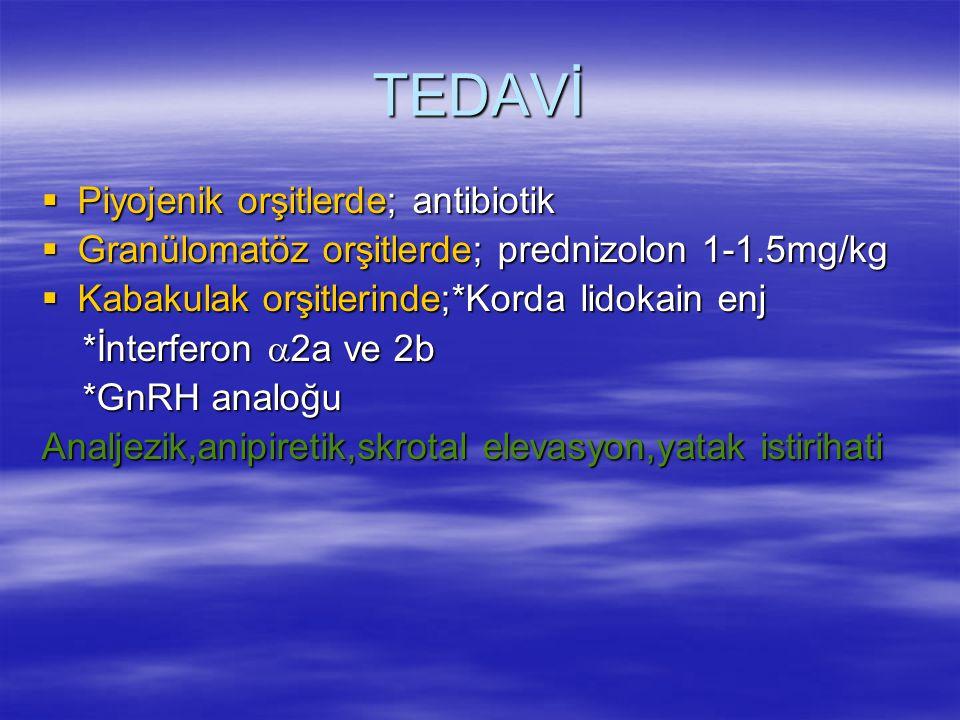 TEDAVİ  Piyojenik orşitlerde; antibiotik  Granülomatöz orşitlerde; prednizolon 1-1.5mg/kg  Kabakulak orşitlerinde;*Korda lidokain enj *İnterferon 