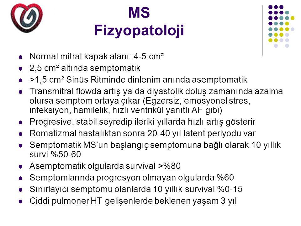 MS Tedavi edilmeyen MS'da mortalite nedeni; -%60-70 progresif kalp yetmezliği -%20-30 embolik proçes -%10 pulmoner emboli -%1-5 enfeksiyon