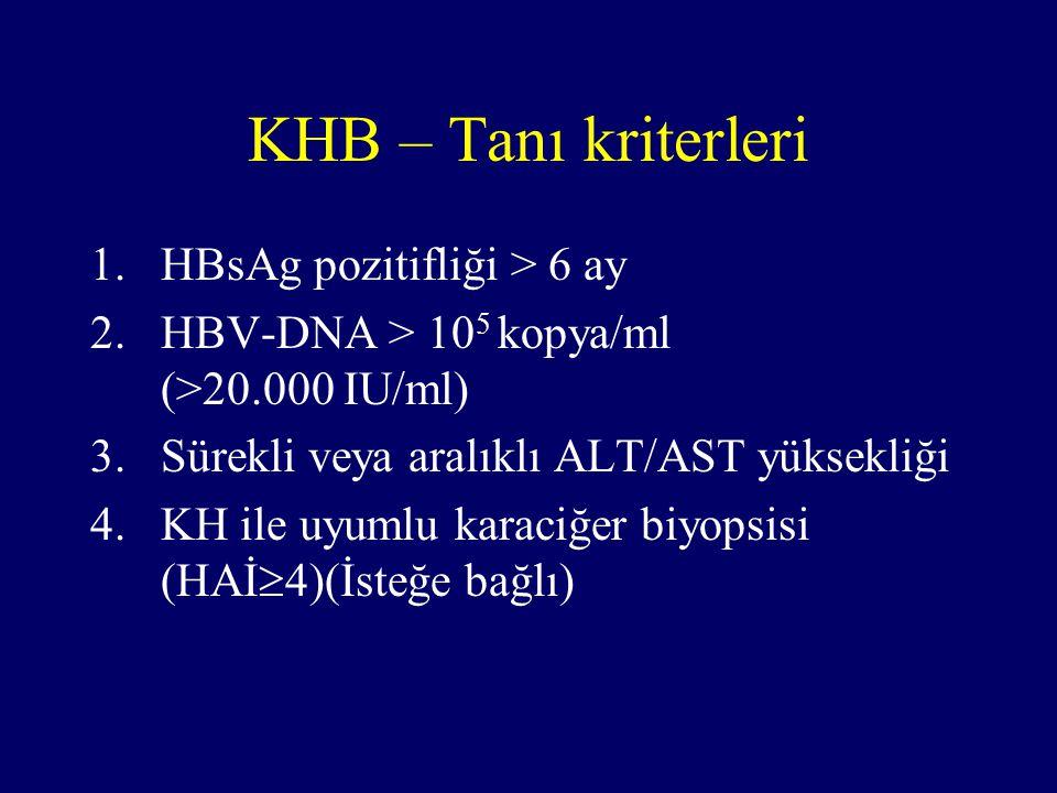 KHB – Tanı kriterleri 1.HBsAg pozitifliği > 6 ay 2.HBV-DNA > 10 5 kopya/ml (>20.000 IU/ml) 3.Sürekli veya aralıklı ALT/AST yüksekliği 4.KH ile uyumlu karaciğer biyopsisi (HAİ  4)(İsteğe bağlı)