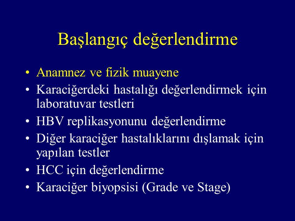 Başlangıç değerlendirme Anamnez ve fizik muayene Karaciğerdeki hastalığı değerlendirmek için laboratuvar testleri HBV replikasyonunu değerlendirme Diğer karaciğer hastalıklarını dışlamak için yapılan testler HCC için değerlendirme Karaciğer biyopsisi (Grade ve Stage)