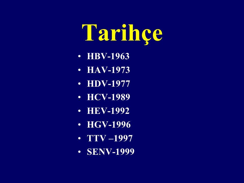 Tarihçe HBV-1963 HAV-1973 HDV-1977 HCV-1989 HEV-1992 HGV-1996 TTV –1997 SENV-1999