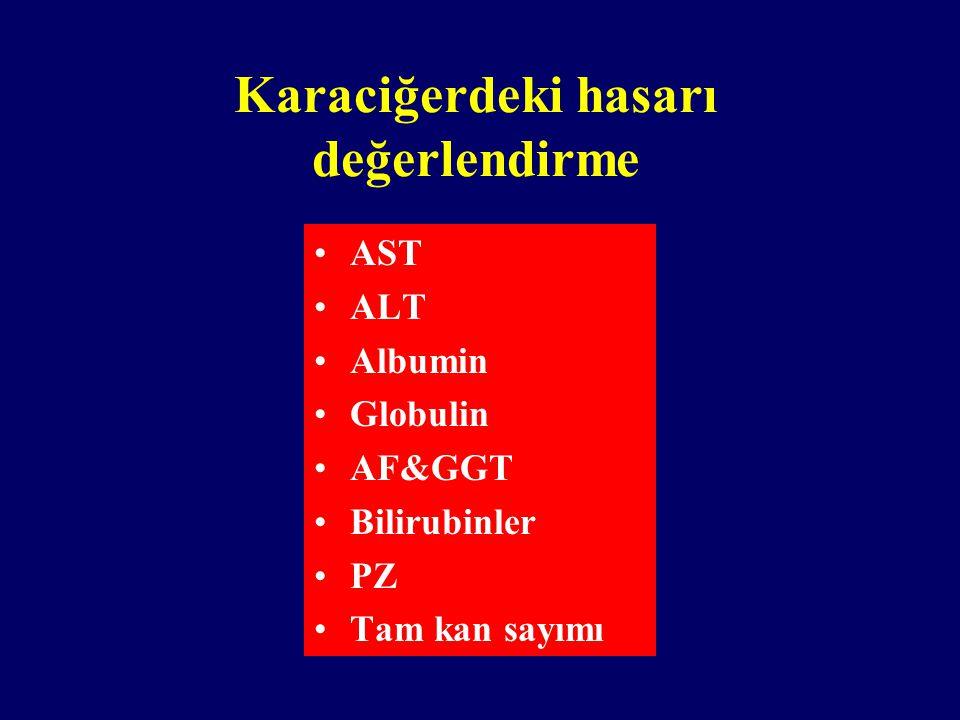 Karaciğerdeki hasarı değerlendirme AST ALT Albumin Globulin AF&GGT Bilirubinler PZ Tam kan sayımı