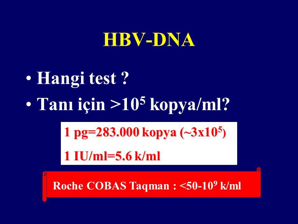 Hangi test .Tanı için >10 5 kopya/ml.