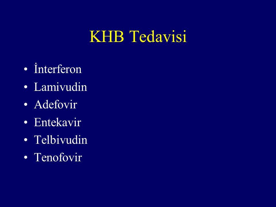 KHB Tedavisi İnterferon Lamivudin Adefovir Entekavir Telbivudin Tenofovir