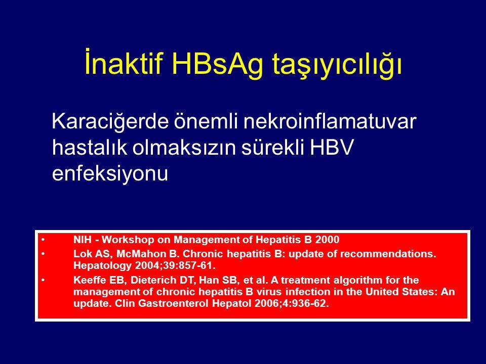 İnaktif HBsAg taşıyıcılığı Karaciğerde önemli nekroinflamatuvar hastalık olmaksızın sürekli HBV enfeksiyonu NIH - Workshop on Management of Hepatitis B 2000 Lok AS, McMahon B.