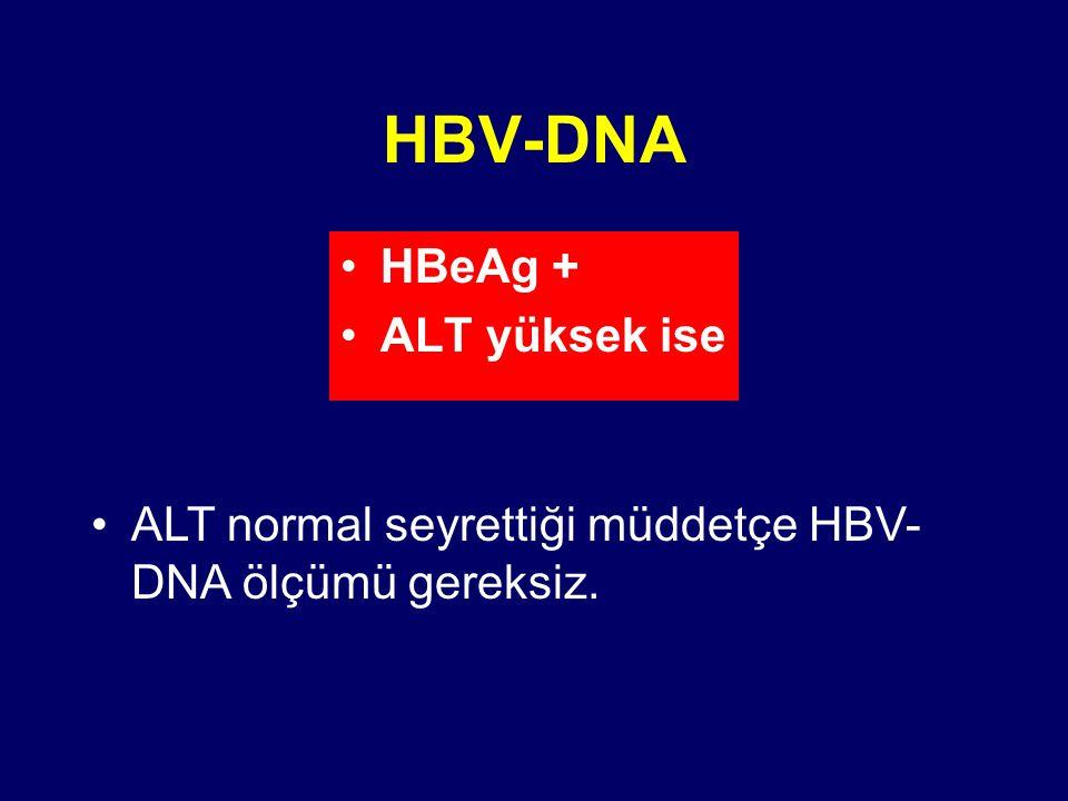 HBV-DNA HBeAg + ALT yüksek ise ALT normal seyrettiği müddetçe HBV- DNA ölçümü gereksiz.