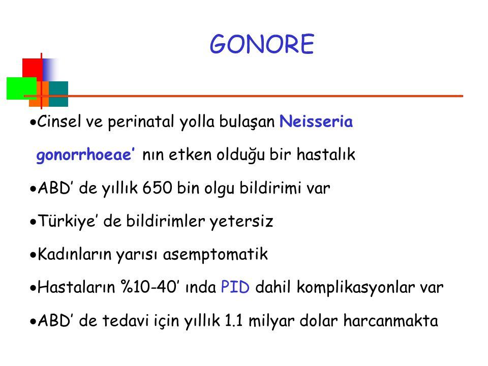 GONORE  Cinsel ve perinatal yolla bulaşan Neisseria gonorrhoeae' nın etken olduğu bir hastalık  ABD' de yıllık 650 bin olgu bildirimi var  Türkiye'