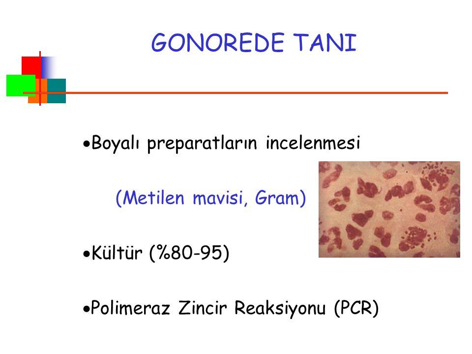 GONOREDE TANI  Boyalı preparatların incelenmesi (Metilen mavisi, Gram)  Kültür (%80-95)  Polimeraz Zincir Reaksiyonu (PCR)