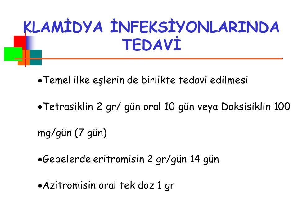 KLAMİDYA İNFEKSİYONLARINDA TEDAVİ  Temel ilke eşlerin de birlikte tedavi edilmesi  Tetrasiklin 2 gr/ gün oral 10 gün veya Doksisiklin 100 mg/gün (7