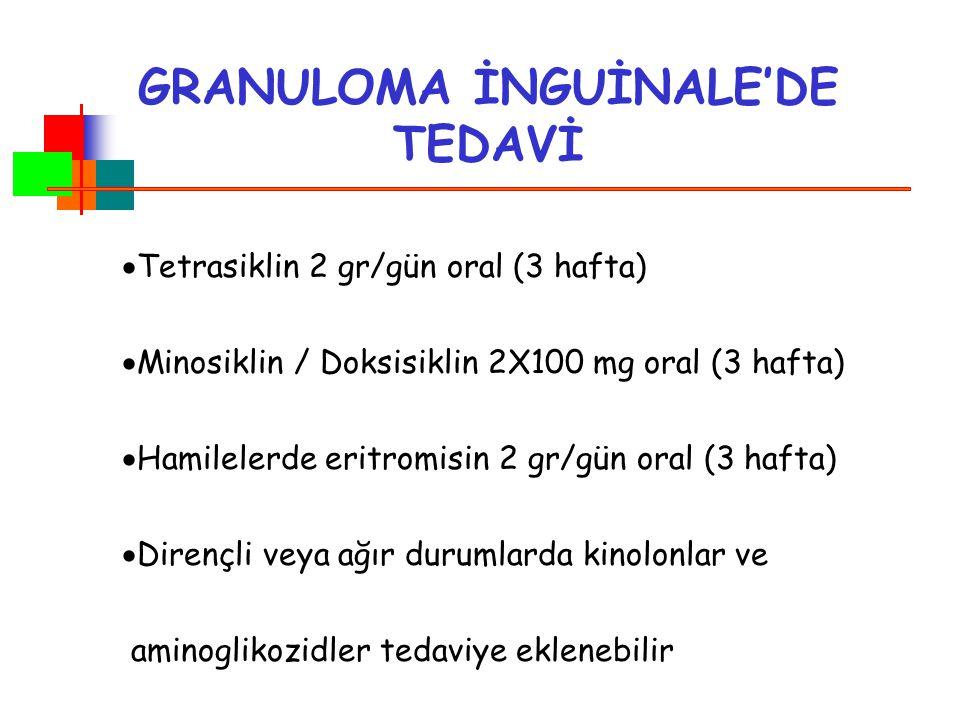 Tetrasiklin 2 gr/gün oral (3 hafta)  Minosiklin / Doksisiklin 2X100 mg oral (3 hafta)  Hamilelerde eritromisin 2 gr/gün oral (3 hafta)  Dirençli