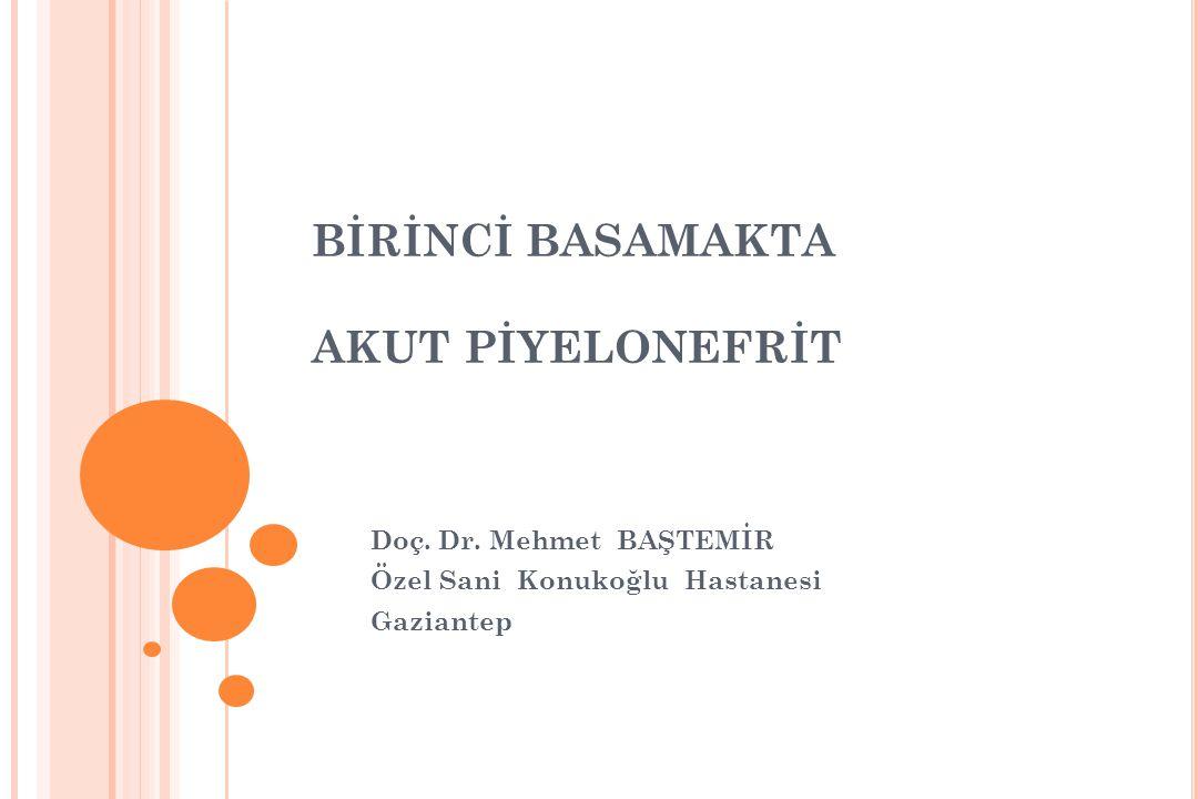 BİRİNCİ BASAMAKTA AKUT PİYELONEFRİT Doç. Dr. Mehmet BAŞTEMİR Özel Sani Konukoğlu Hastanesi Gaziantep