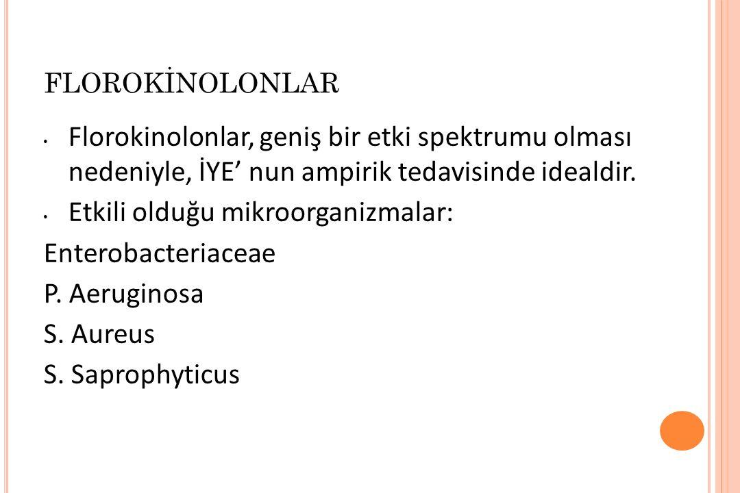 FLOROKİNOLONLAR Florokinolonlar, geniş bir etki spektrumu olması nedeniyle, İYE' nun ampirik tedavisinde idealdir. Etkili olduğu mikroorganizmalar: En