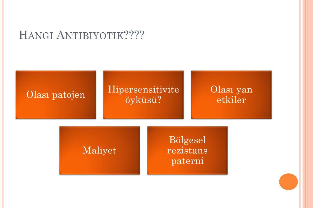 H ANGI A NTIBIYOTIK ???? Olası patojen Hipersensitivite öyküsü? Olası yan etkiler Maliyet Bölgesel rezistans paterni