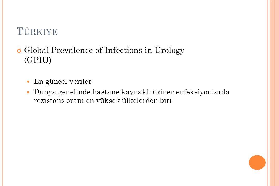 T ÜRKIYE Global Prevalence of Infections in Urology (GPIU) En güncel veriler Dünya genelinde hastane kaynaklı üriner enfeksiyonlarda rezistans oranı e